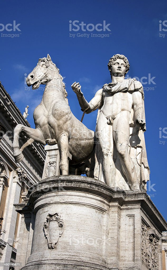 Statue at the Capitoline Hill in Rome royalty-free stock photo