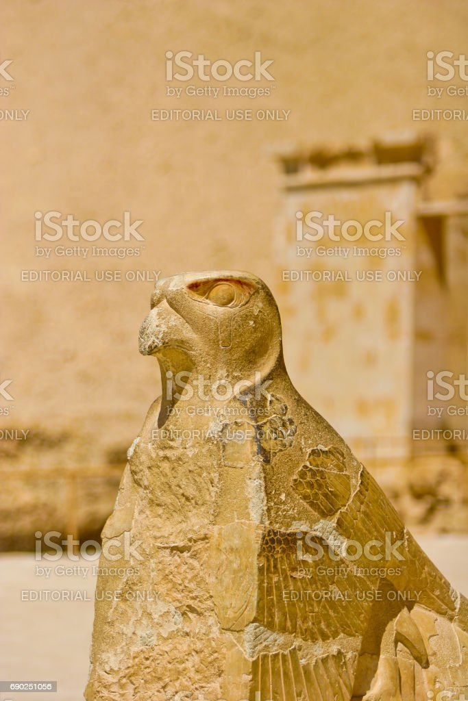 Statue at the Temple of Hatshepsut in Egypt stock photo