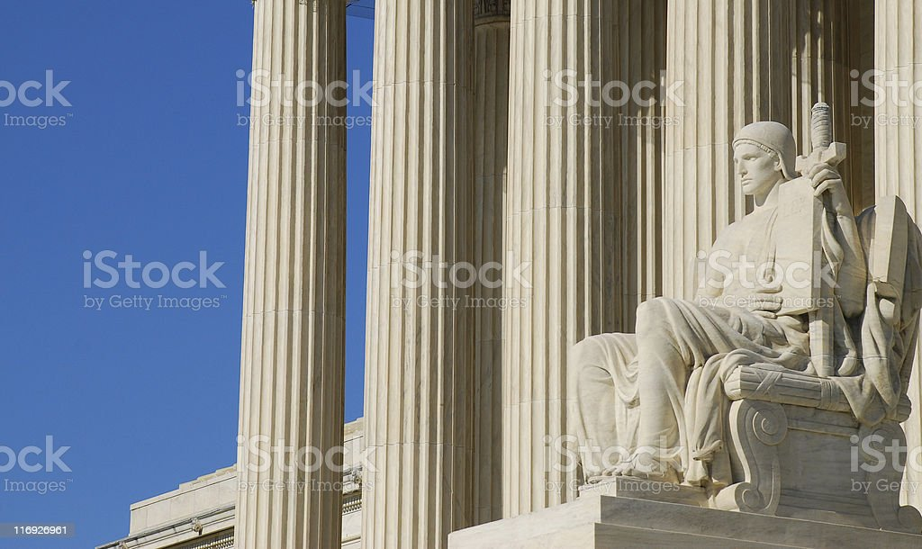 Statue at US Supreme Court stock photo