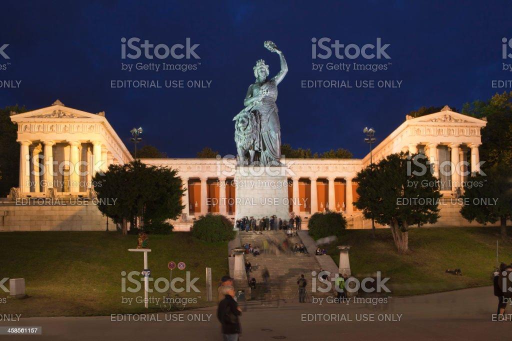 Statue Bavaria, Hall of Fame at night, Munich, Germany. stock photo
