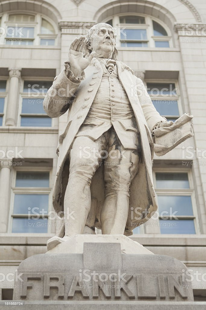 Statue Ben Franklin Old Post Office Building Washington DC stock photo