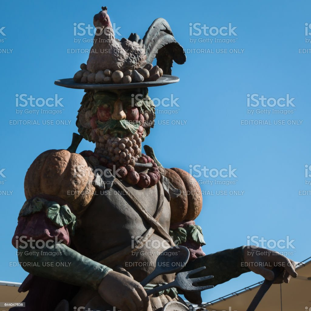 Milano, Italy - september 2015: Statue Celebrating the Food in Arcimboldo's Style at universal Exposition In Milan, Italy stock photo