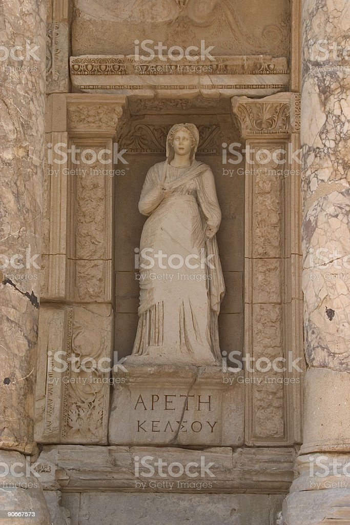 Statue, Celsus Library, Ephesus royalty-free stock photo