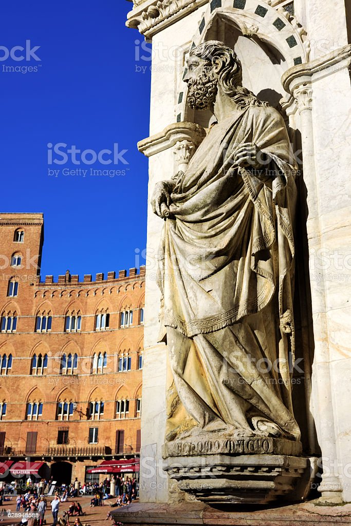 Statue,  Chapel of Piazza del Campo, Siena stock photo