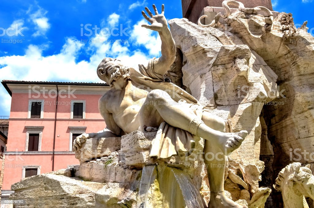 Statue cropped in Bernini's Fountain, Piazza Navona, Rome Italy stock photo