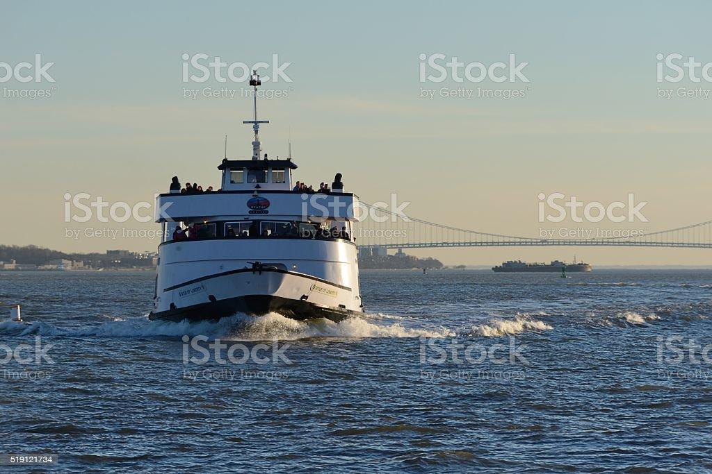 Statue Cruise ferry stock photo