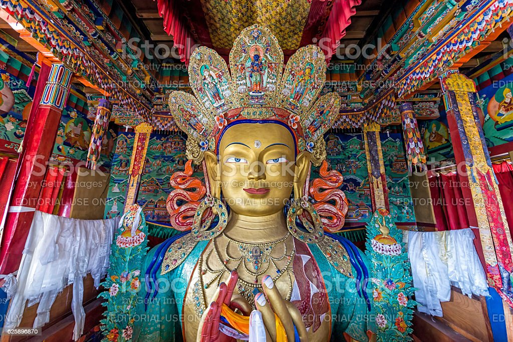 Statue depicting Maitreya at the Thiksey Monastery stock photo
