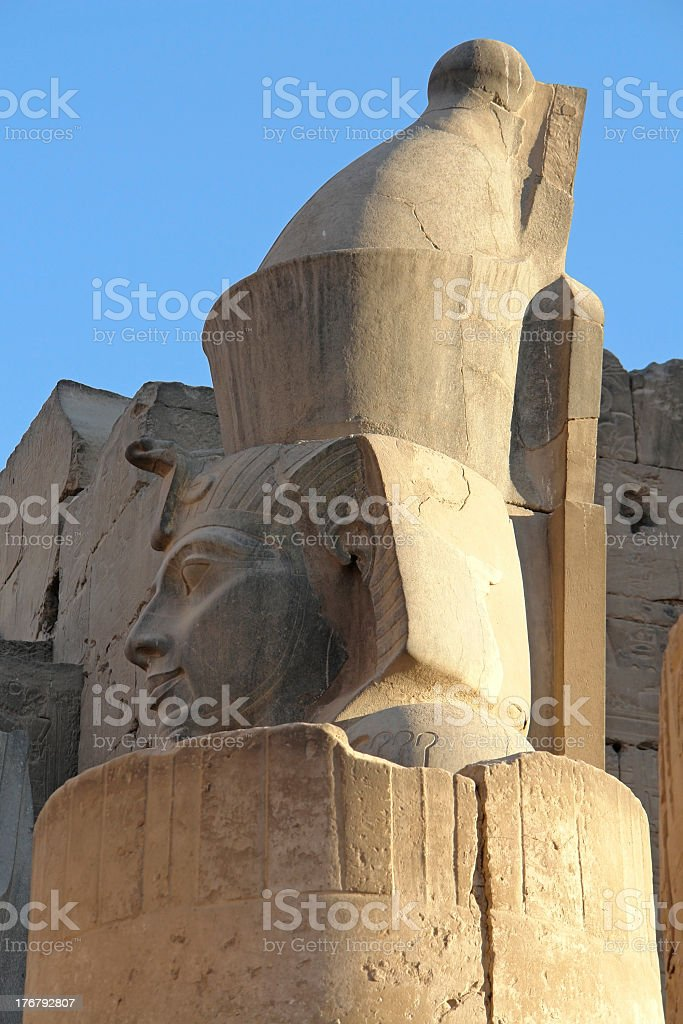 statue detail at Luxor Temple in Egypt stock photo