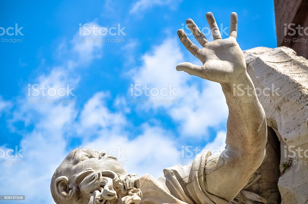 Statue detail in Bernini's Fountain, Piazza Navona, Rome Italy stock photo