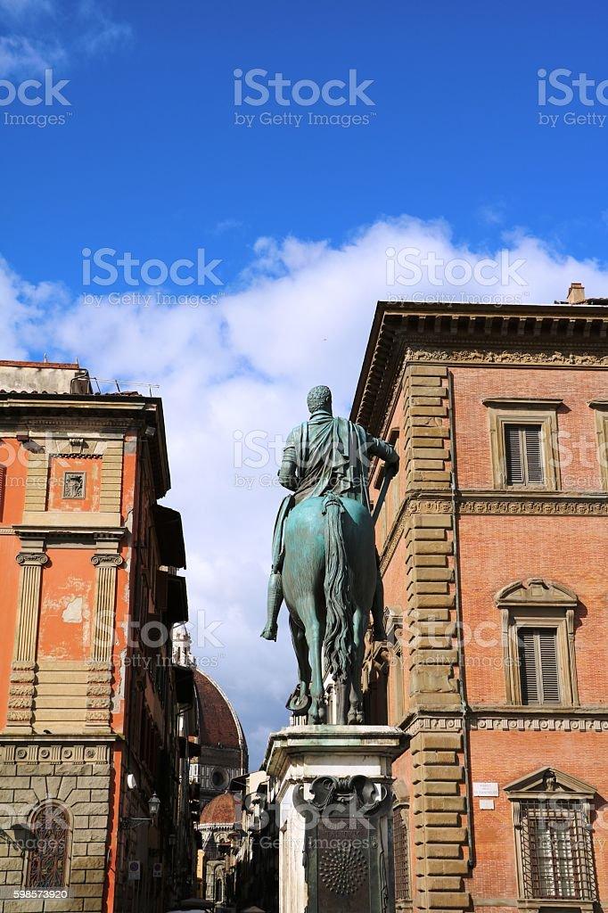 Statue Ferdinando de Medic at Piazza Santissima Annunziata, Florence Italy stock photo
