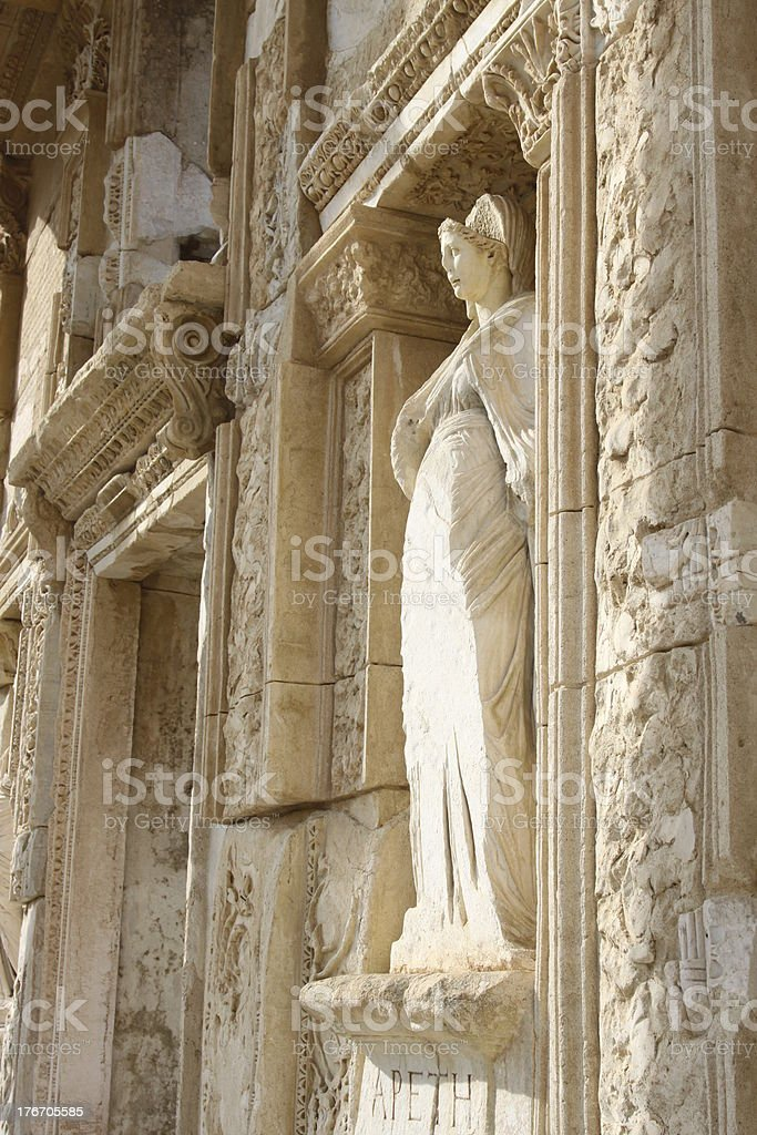 Statue from Library of Celsus, Ephesus, Ismir, Turkey royalty-free stock photo
