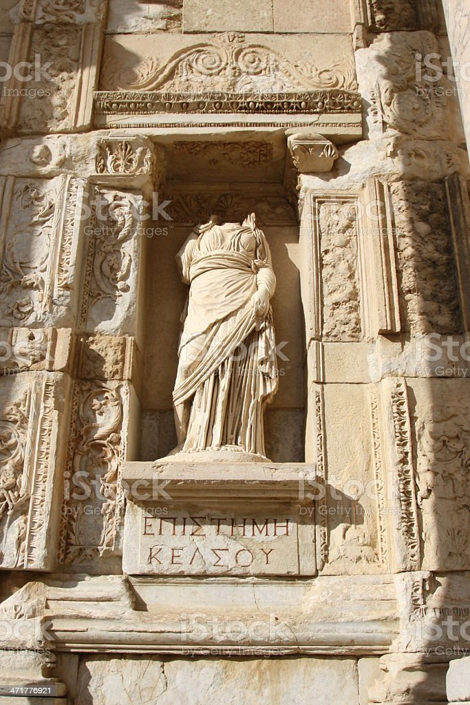 Statue from Library of Celsus, Ephesus royalty-free stock photo