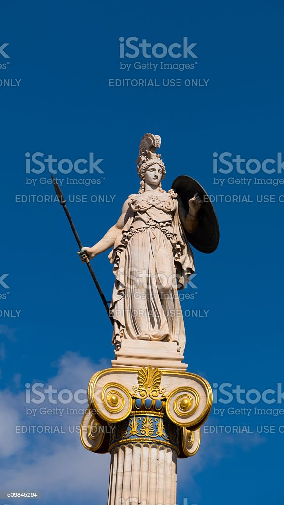 Statue from the Academy in Athens, Greece - Goddess Athena stock photo