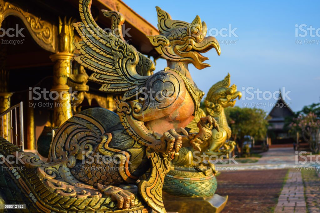 statue garuda at Thai Temple sirindhornwararam (Wat Phu Prao) stock photo