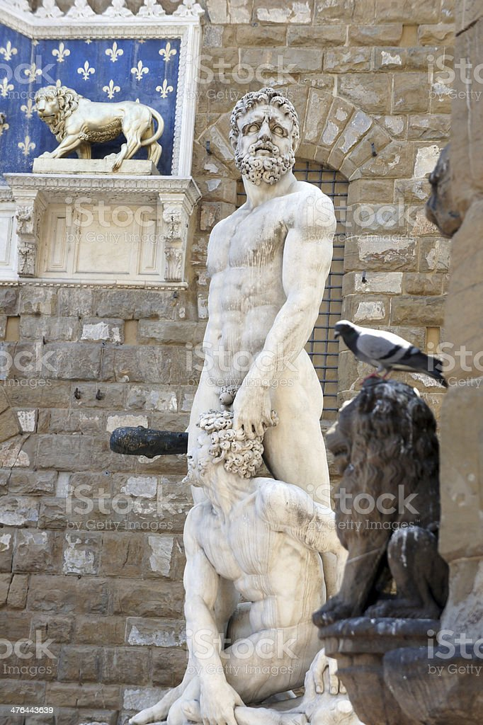 Statue Hercules and Cacus, Palazzo Vecchio in Florence, Italy royalty-free stock photo