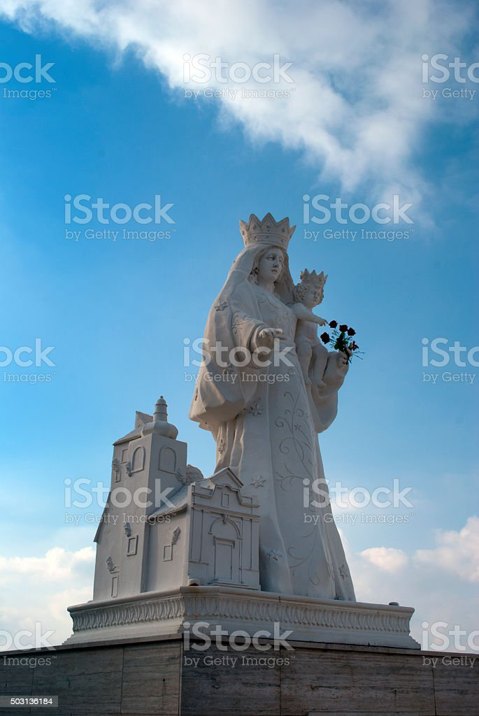 Statue holy mother of God Our Lady of Constantinopoli stock photo