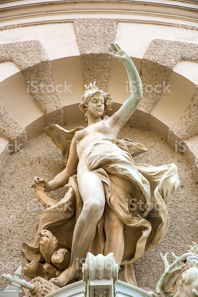 Statue in a fountain in the Hofburg in Vienna stock photo