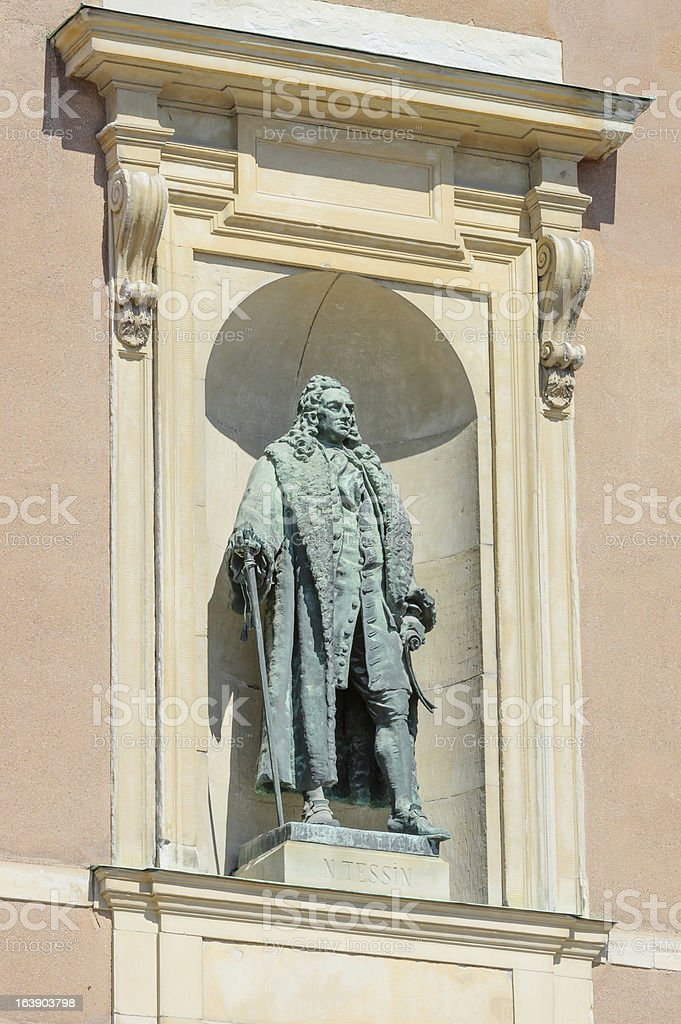 Statue in alcove  on royal palace Stockholm royalty-free stock photo