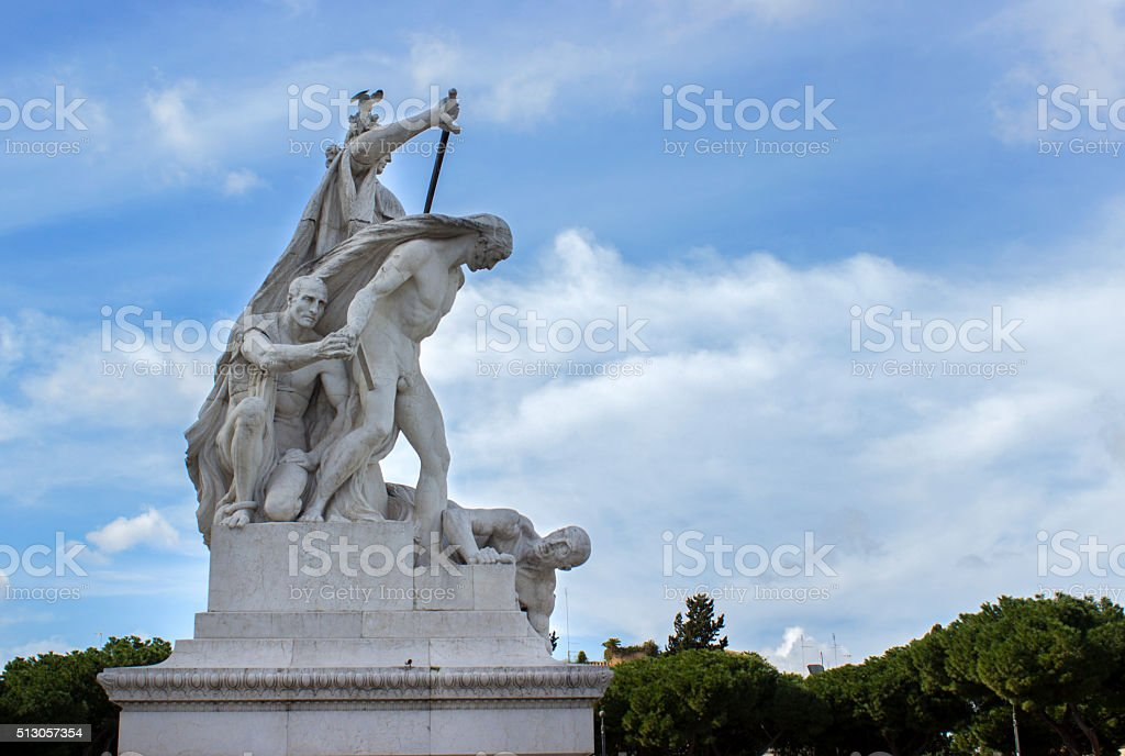 Statue in Altare Della Patria in Rome, Italy stock photo