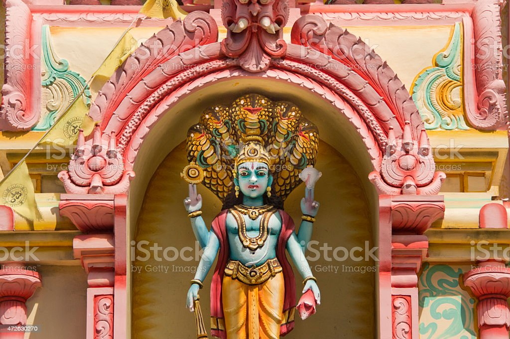 Statue in an Indian temple in Mauritius stock photo