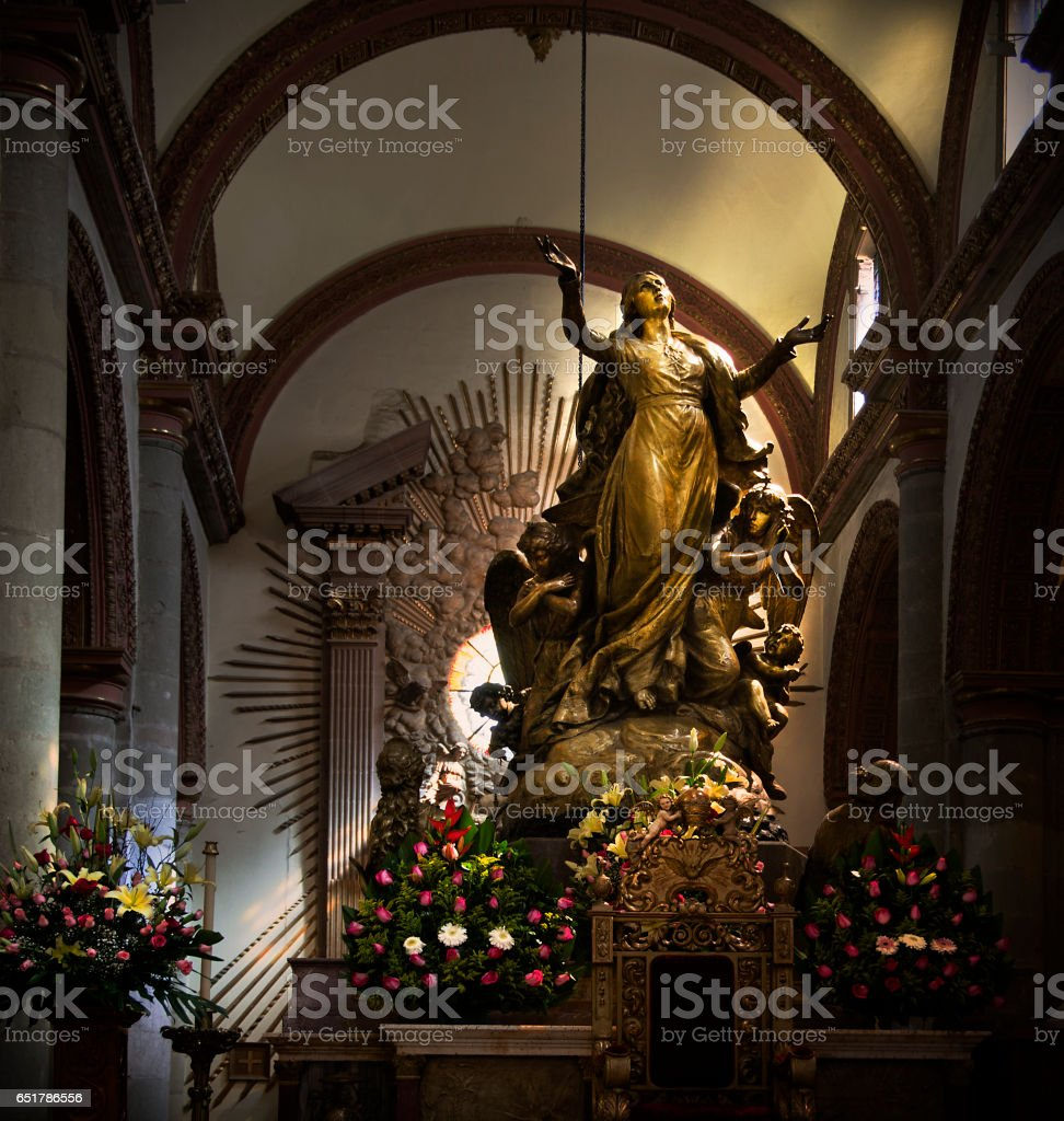 statue in Cathedral of Our Lady of the Assumption, Oaxaca, Mexico stock photo
