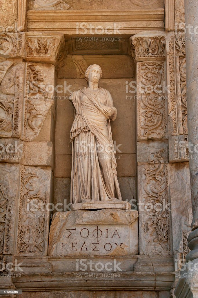 statue in Ephesus Celsius Library Turkey royalty-free stock photo