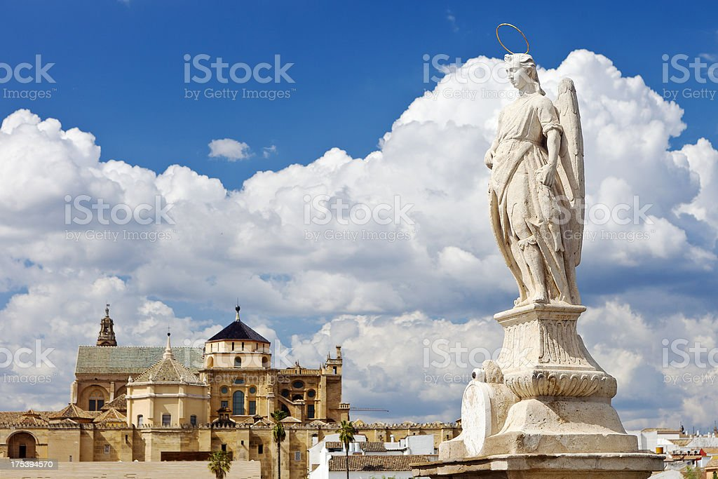 Statue In Front Of The Mezquita Cordoba, Spain stock photo