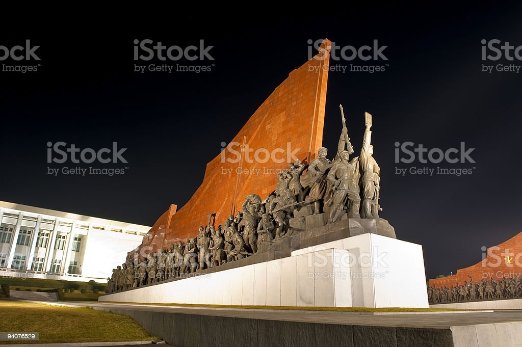 Statue in Pyongyang at night stock photo