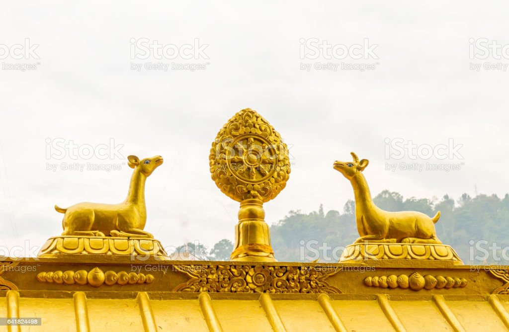 Statue in Swayambhunath Stupa stock photo