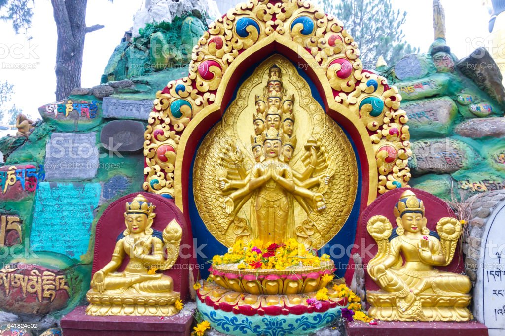 Statue in Swayambhunath Stupa stock photo