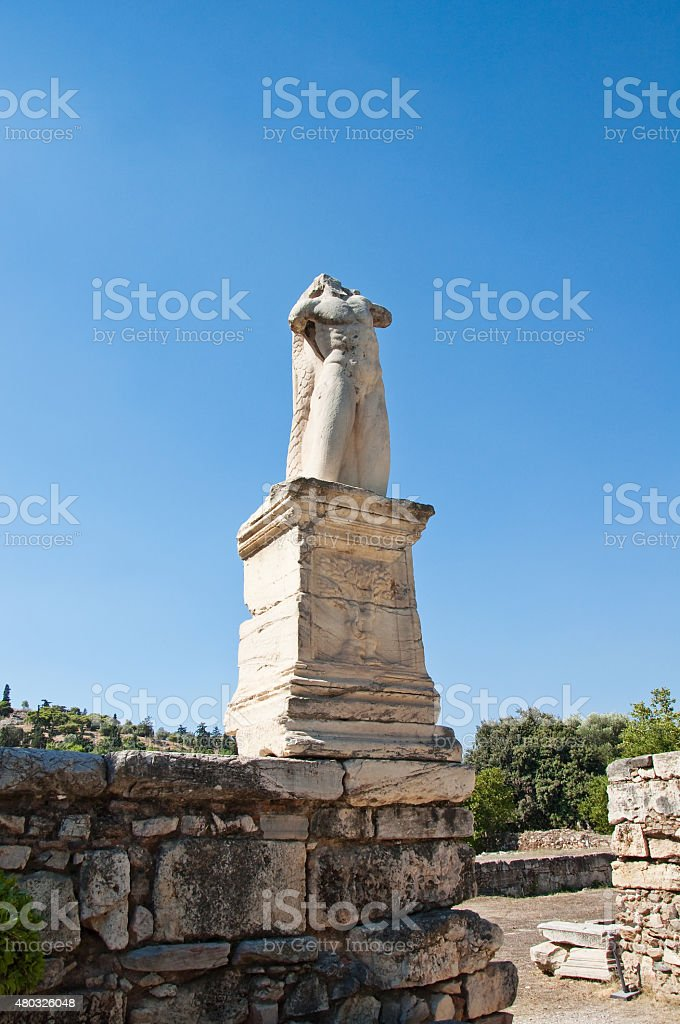 Statue in the Ancient Agora. Greece. stock photo