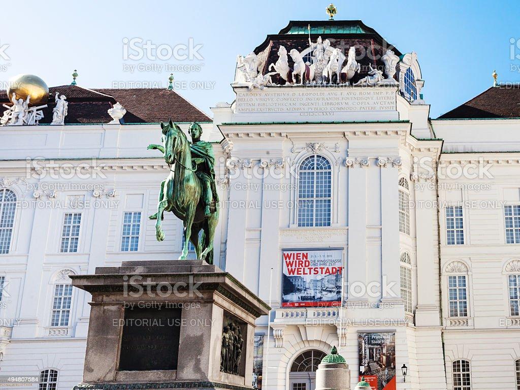 statue Joseph II on Josefsplatz in Vienna stock photo