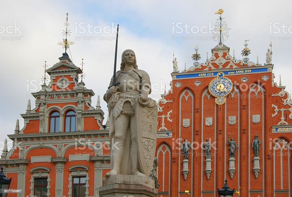Statue knight in Riga stock photo