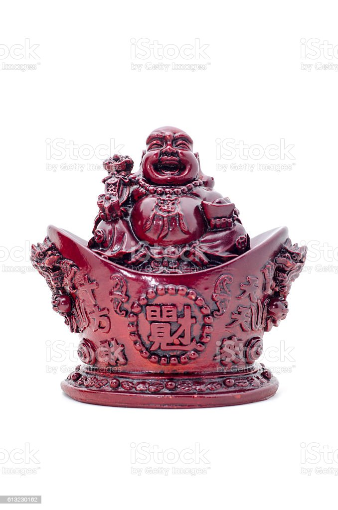 Statue laughing Buddha. Cheerful monk isolated on white. stock photo