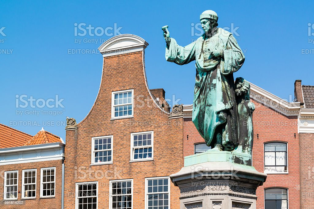 Statue Laurens Coster on market square in Haarlem, Netherlands stock photo