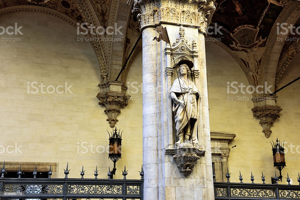 Statue, Loggia della Mercanzia, Siena stock photo