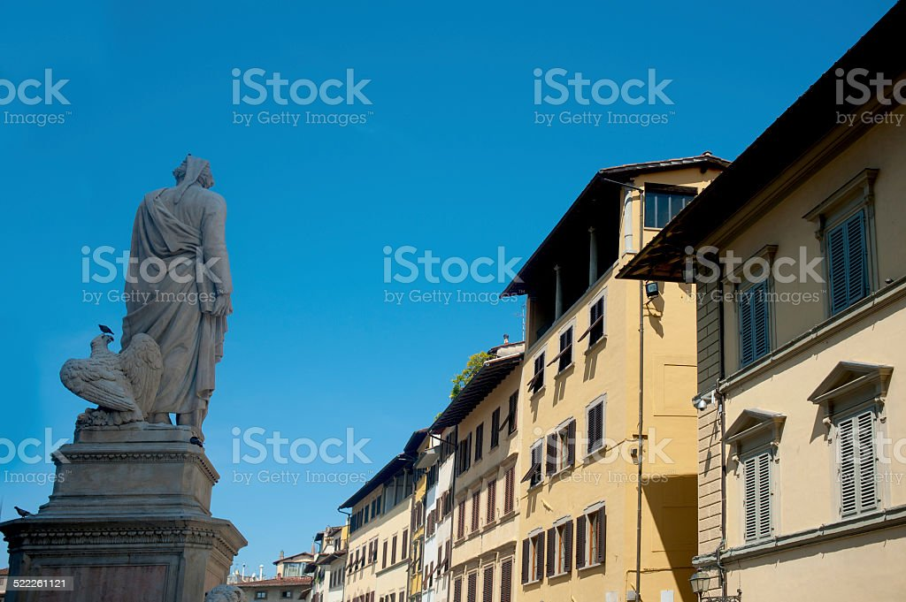 statue made by Enrico Pazzi dedicated to Dante stock photo
