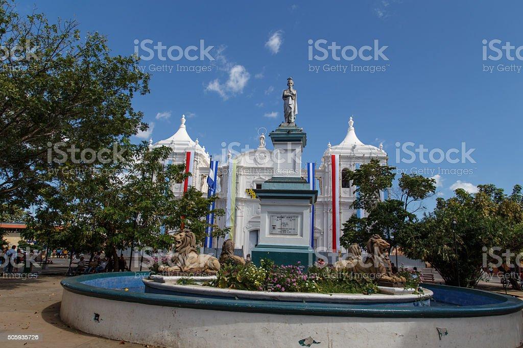 statue Maximo Jerez Ruben Dario Park Cathedral of Leon Nicaragua stock photo