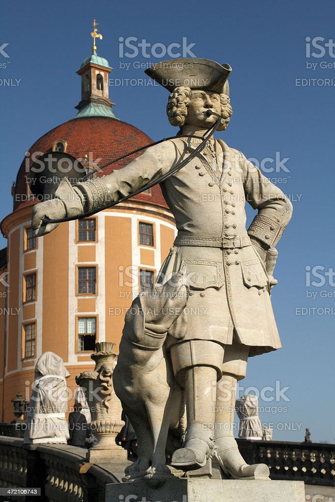Statue of a Bugler outside the Moritzburg Castle royalty-free stock photo