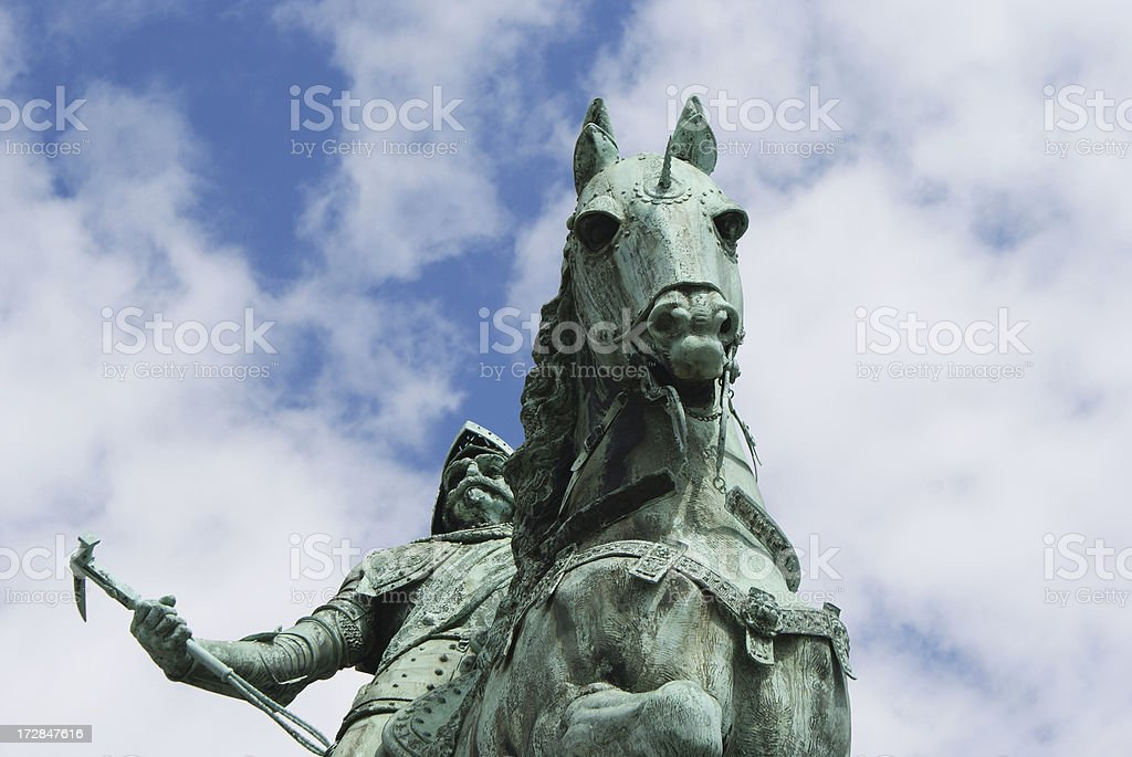 Statue of a Horse and Rider stock photo