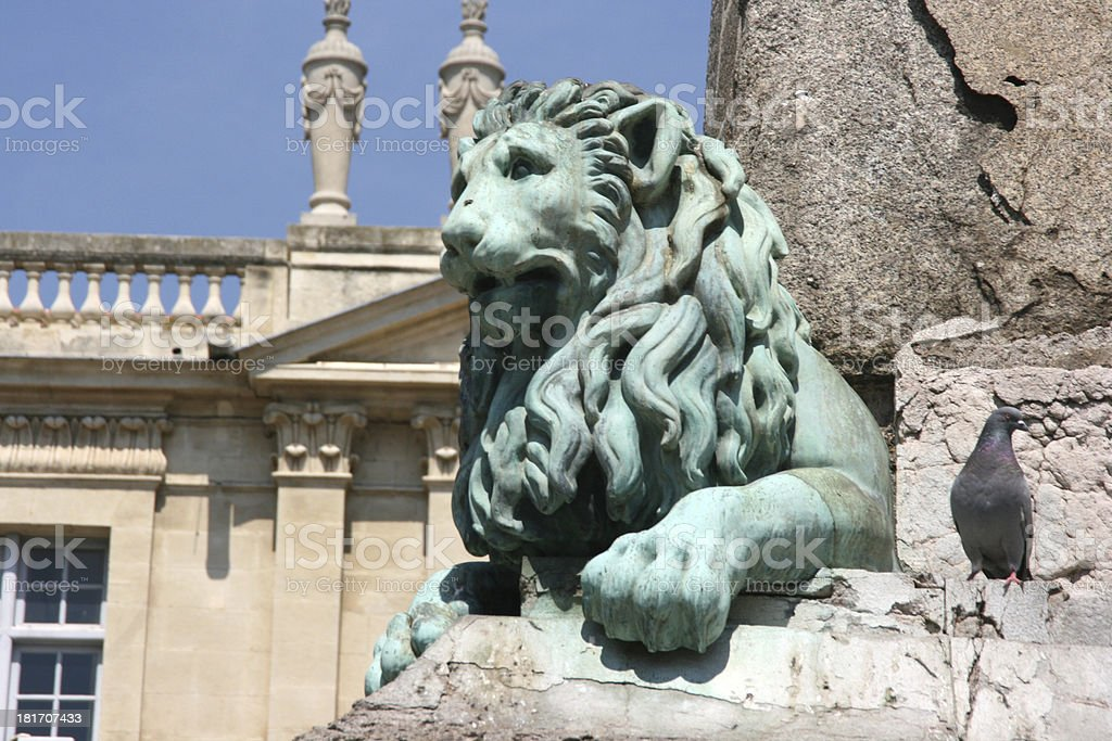 Statue of a Lion in Arles, France. stock photo
