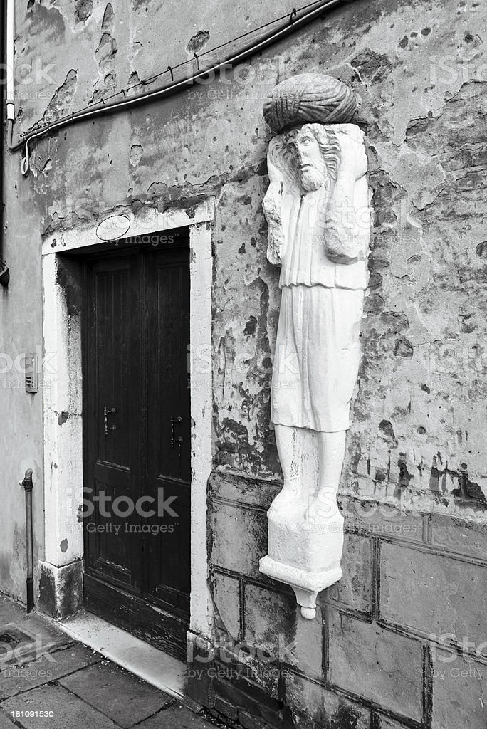 Statue of a Moor in Venice stock photo