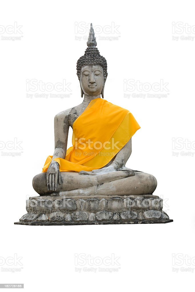 Statue of a sitting Buddha isolated stock photo