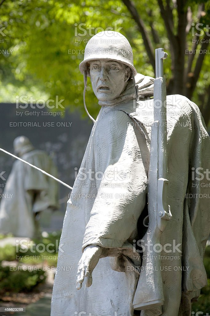 Statue of a Soldier at the Korean War Memorial. stock photo