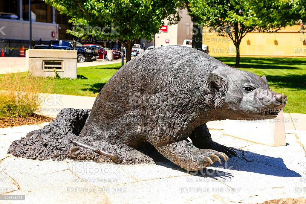 Statue of a UWBadger at Camp Randall in Madison Wisconsin stock photo