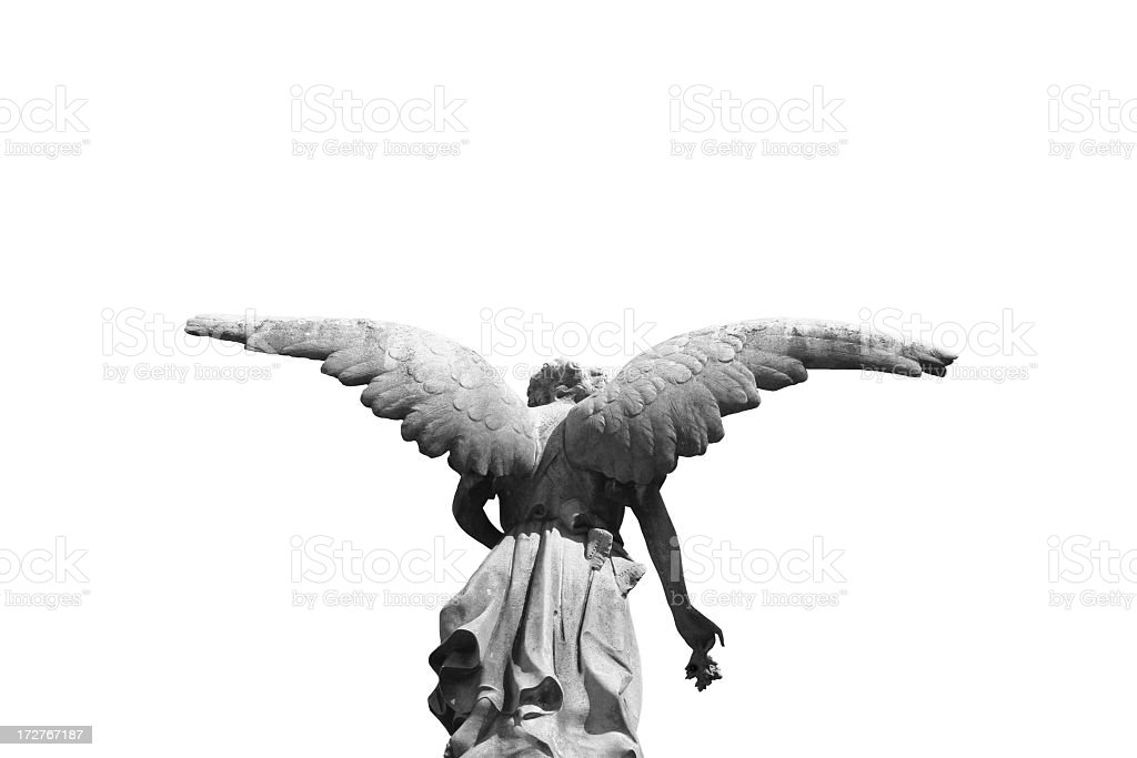 Statue of a winged angel photographed from behind royalty-free stock photo