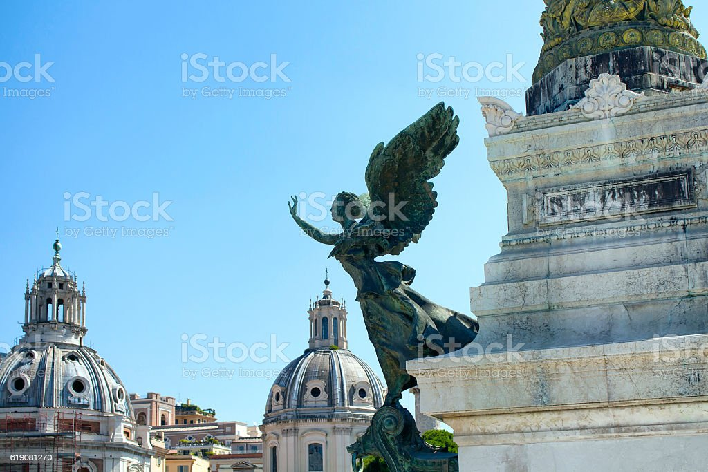 Statue of a winged woman stock photo