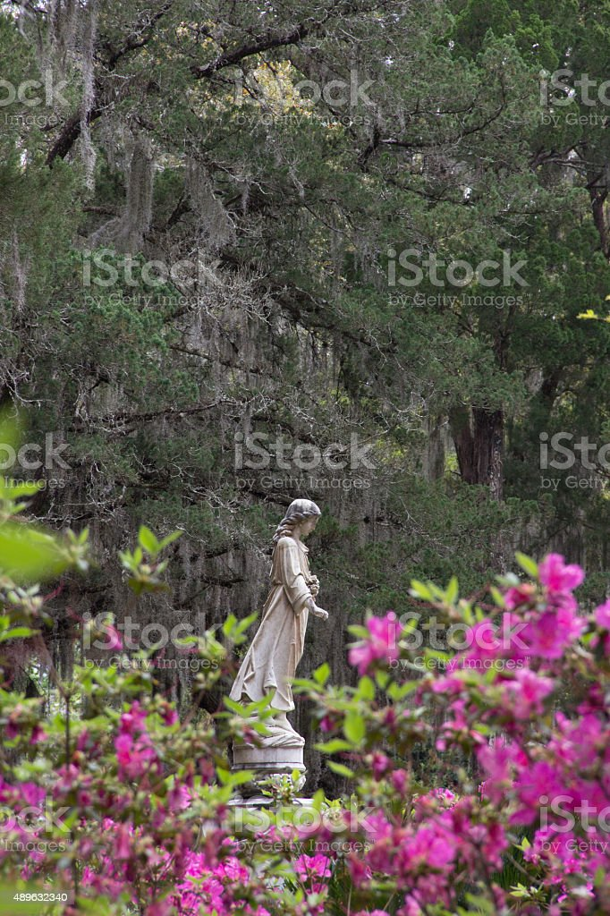 Statue of a Woman at the Bonaventure Cemetery in Georgia stock photo