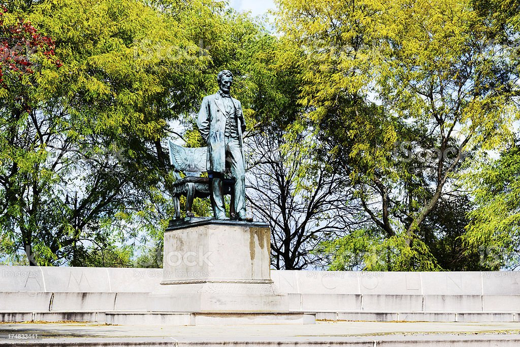 Statue of Abraham Lincoln, standing. Chicago. stock photo