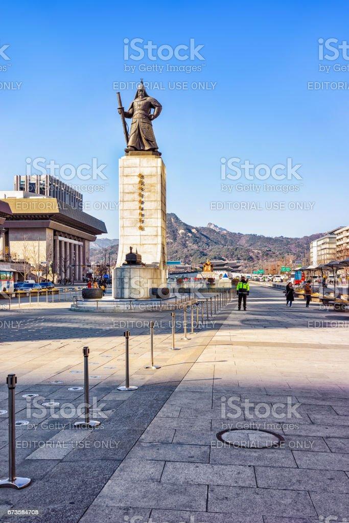 Statue of Admiral Yi Sunsin in Gwanghwamun plaza in Seoul stock photo